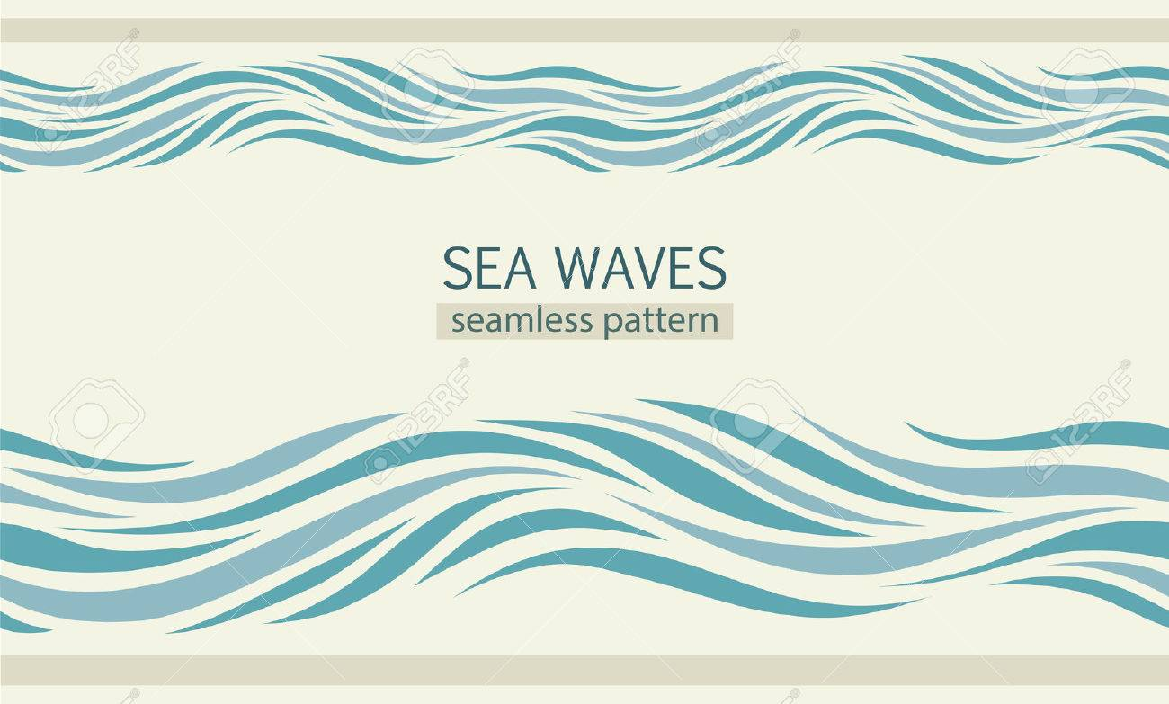 Seamless patterns with stylized sea waves vintage style - 65575262