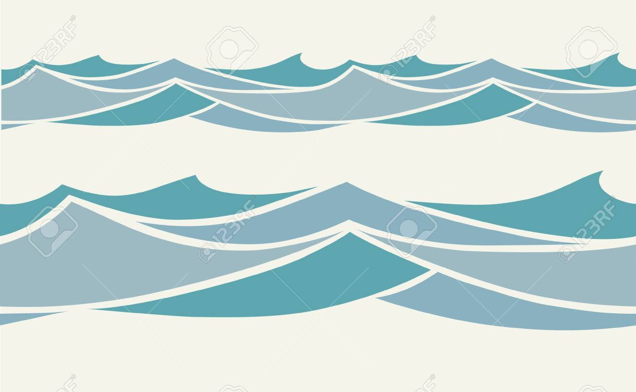 Seamless pattern with stylized blue waves in vintage style - 66459067