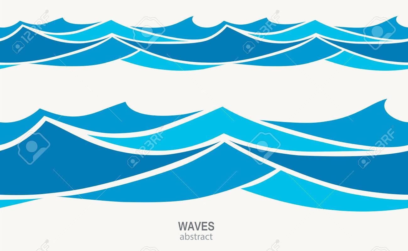 Marine seamless pattern with stylized blue waves on a light back - 71546997