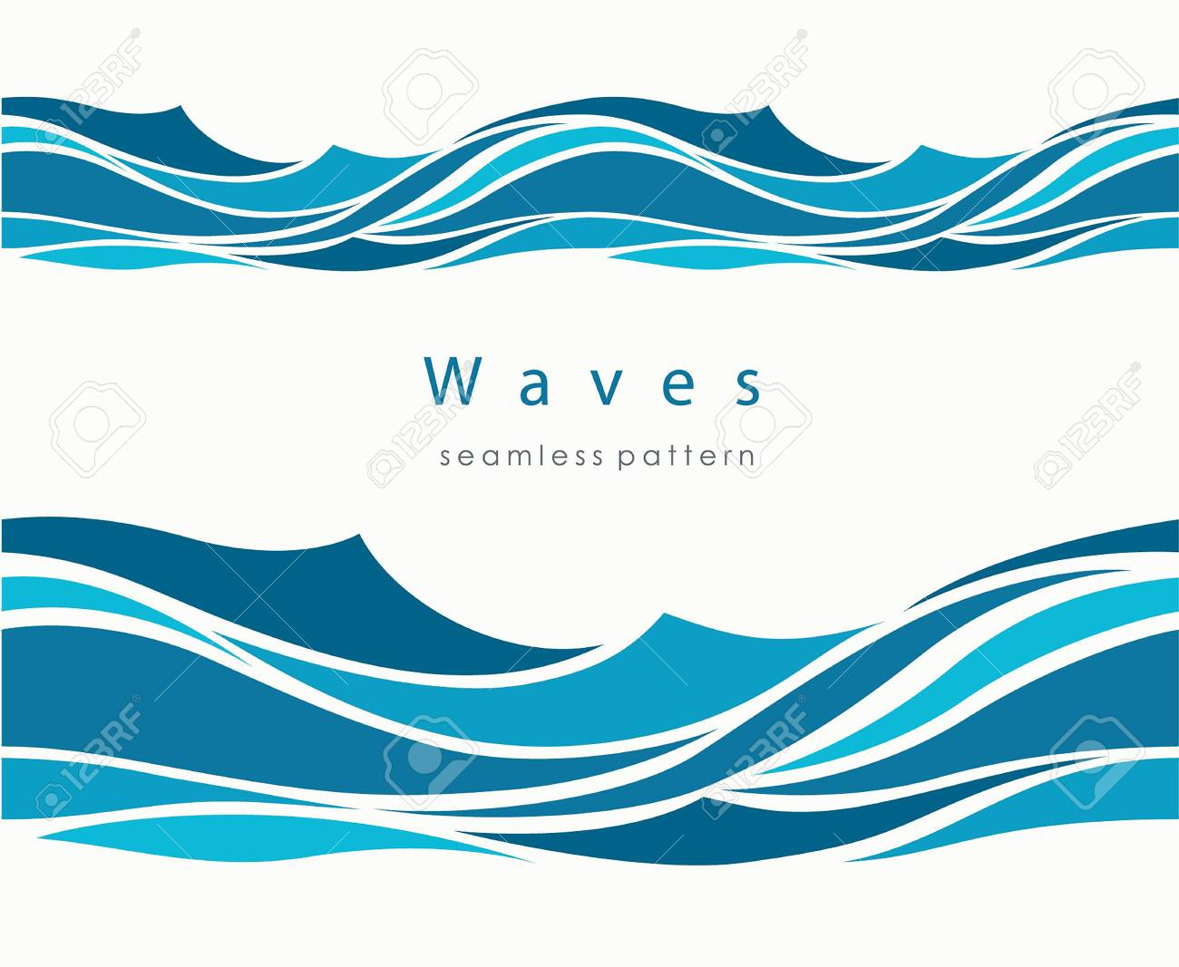 Marine seamless pattern with stylized waves on a light background. Blue water Sea Wave abstract vector background. - 126209347