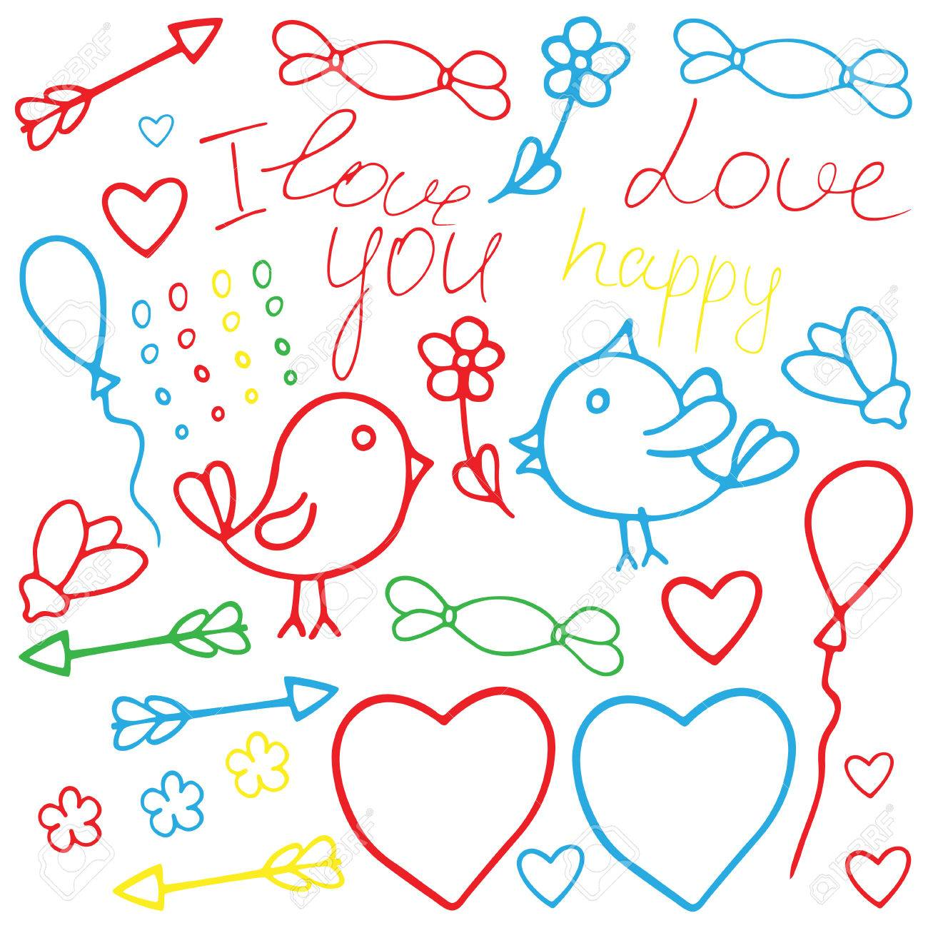 Love Valentine Art Romantic Hand Drawn Clip Art With Birds