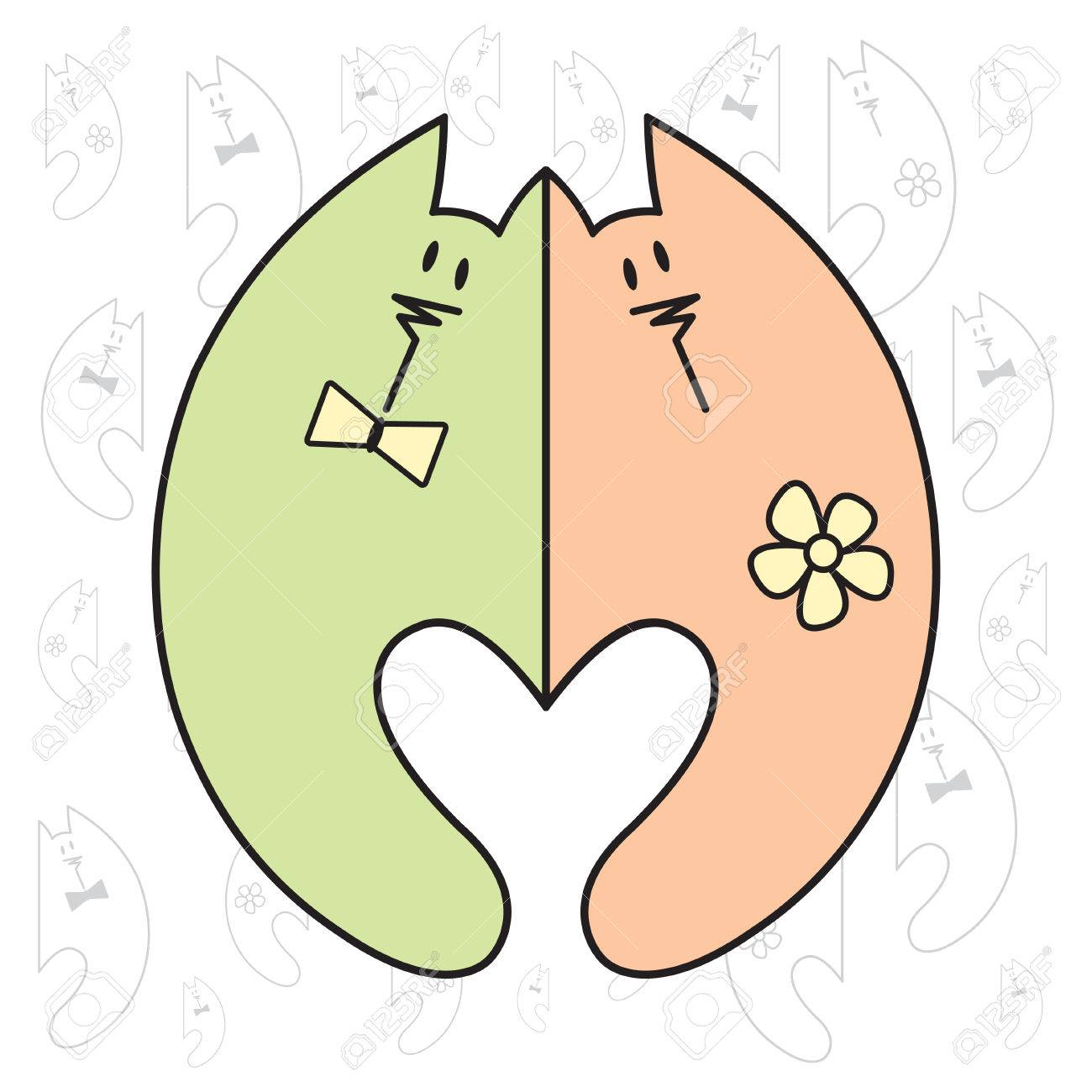 0366b53e59 Foto de archivo - Me encanta el arte Valentine. clipart de la vendimia  romántica con gatos. ilustración vectorial Día de la boda o de San Valentín.
