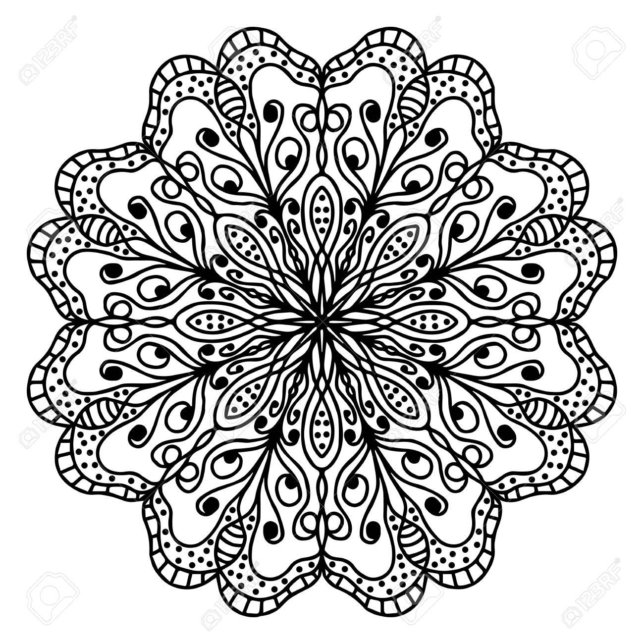 Ongekend Hand Tekening Doodling Mandala Kleurplaat Geïsoleerde Royalty LF-73
