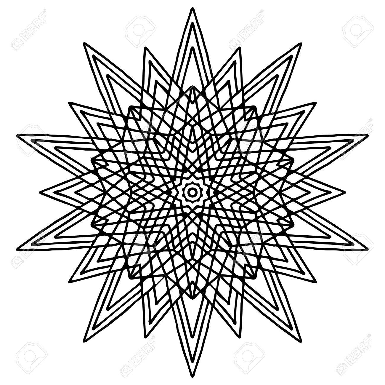 christmas hand drawing doodling star mandala coloring page isolated stock vector 69073530