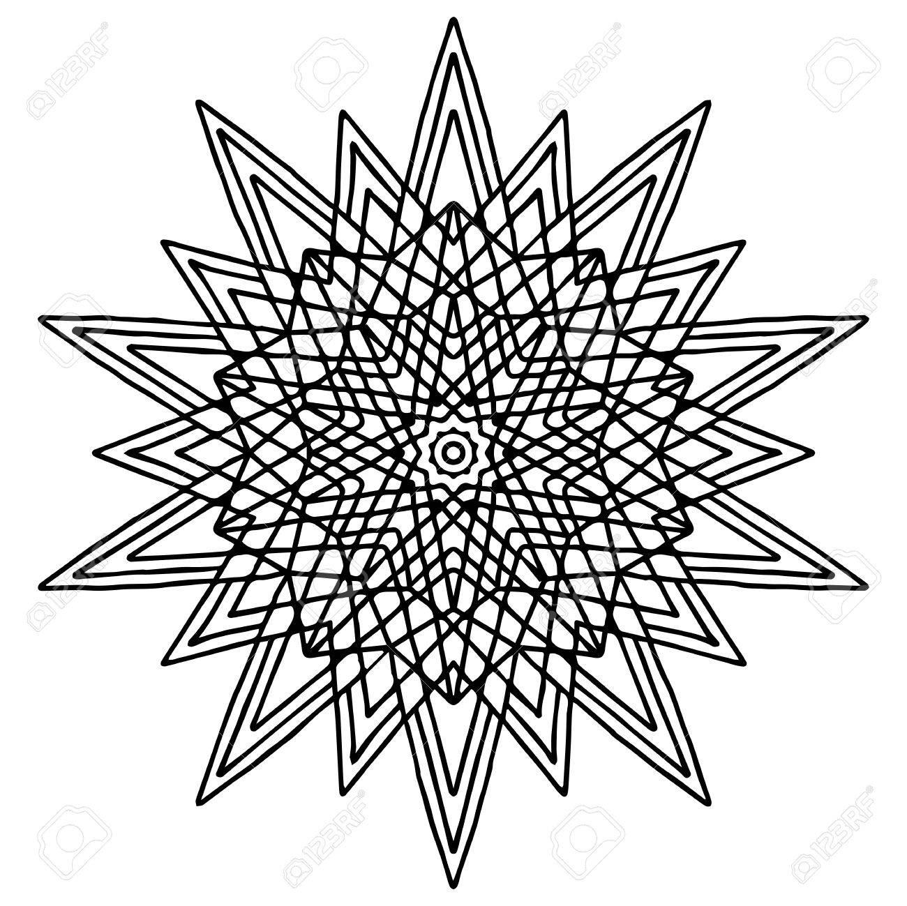 Coloriage Etoile Mandala.Dessin A La Main De Noel Doodling Etoile Mandala Coloriage Page
