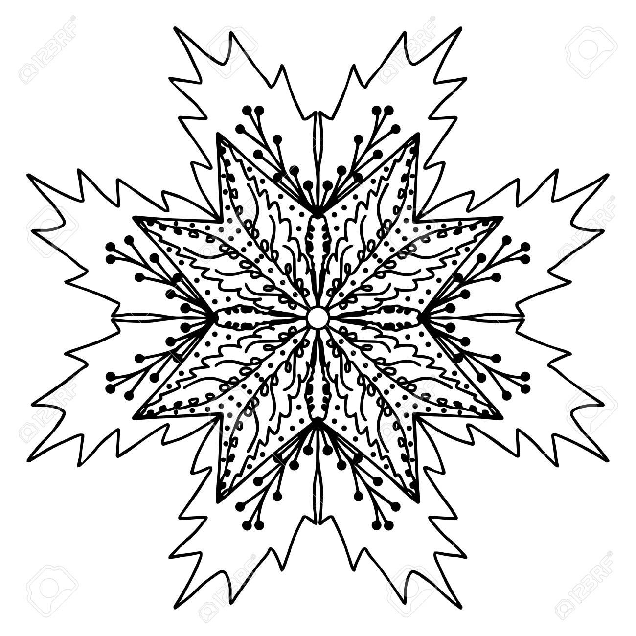Noël à La Main De Houx Dessin Griffonner Mandala Coloriage Isolé