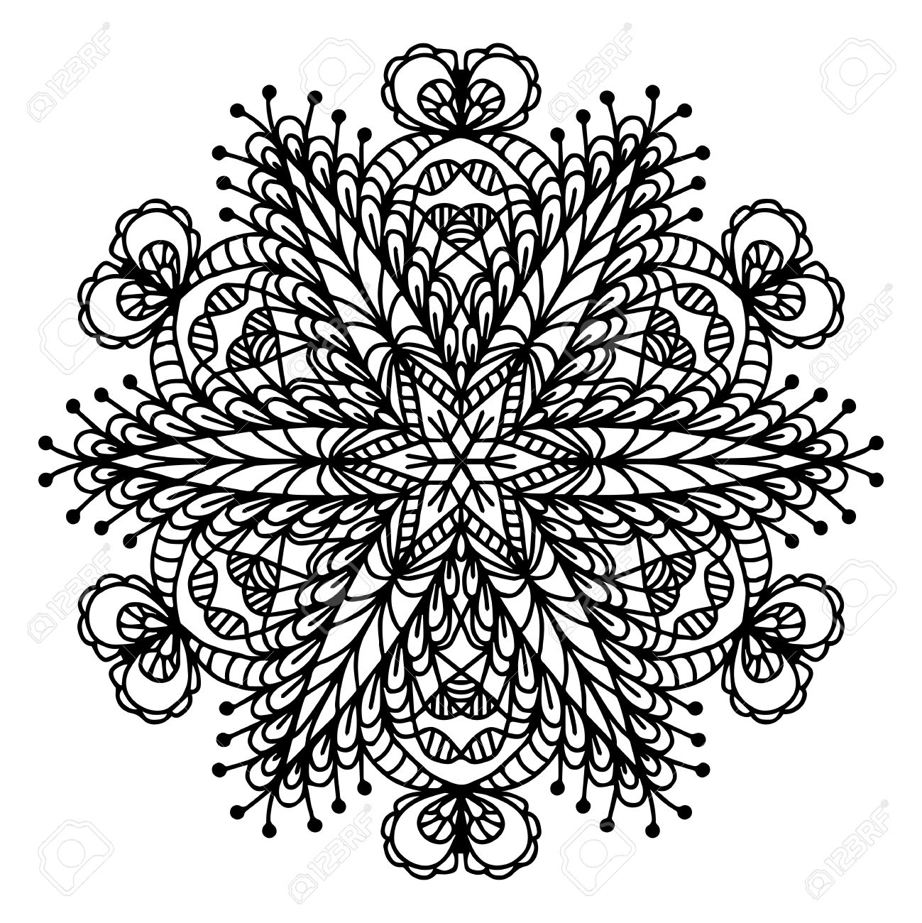Hand Tekening Doodling Mandala Kleurplaat Geisoleerde Royalty Vrije Cliparts Vectoren En Stock Illustratie Image 66696848
