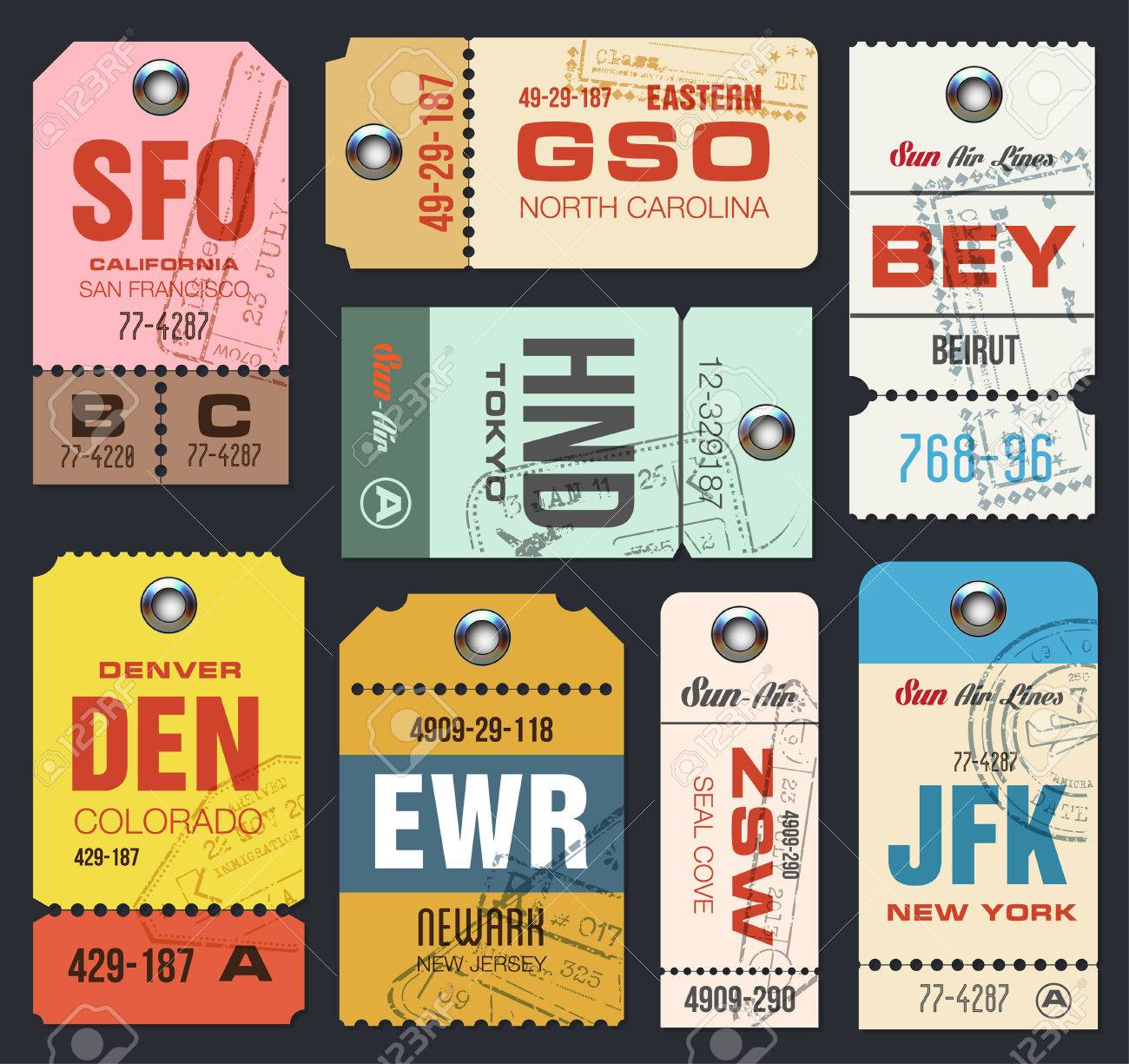 Airline Tags Checklist For Travelers Vintage Luggage Vector Stock