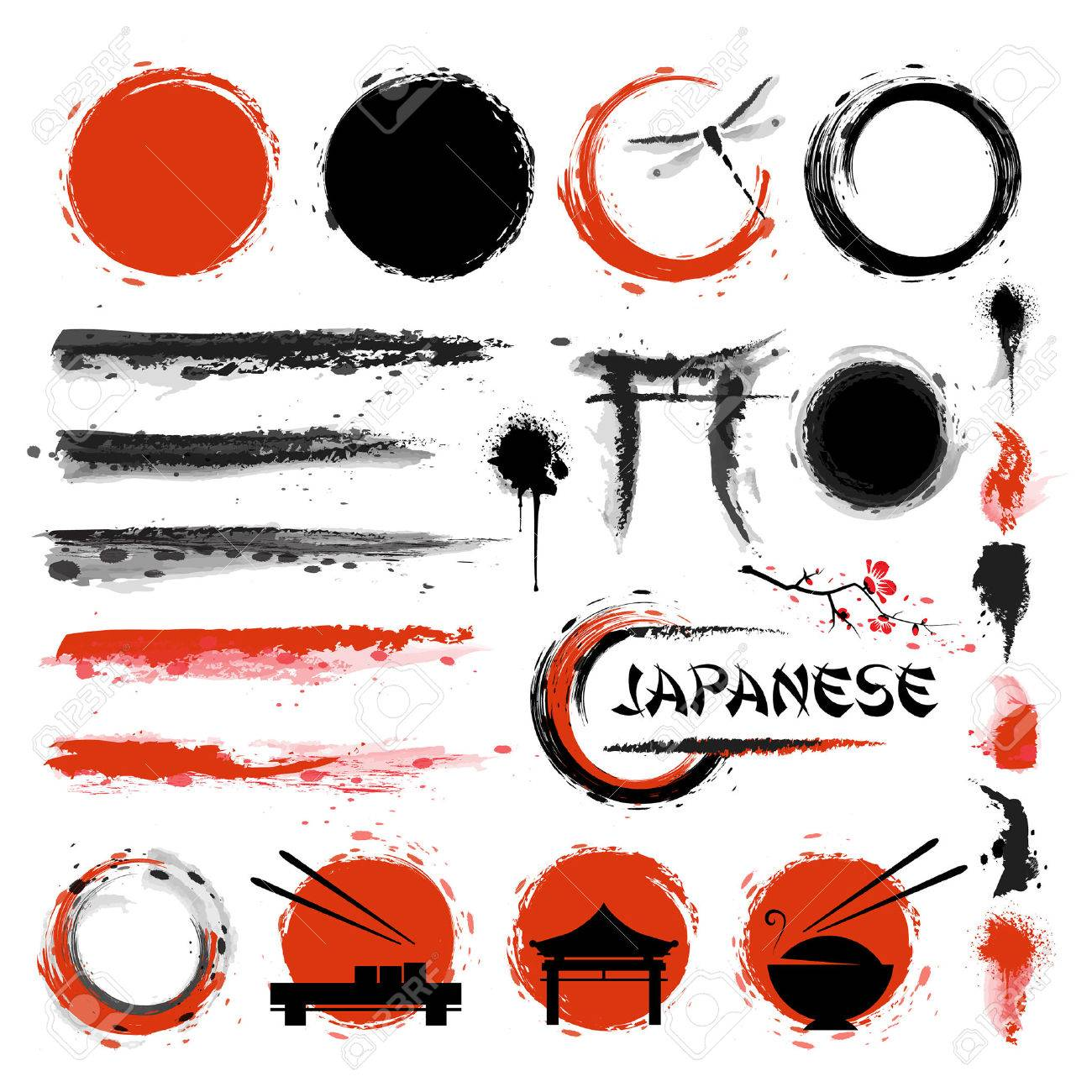 Traditional Japanese style. Set of brushes and other design elements - 61189068