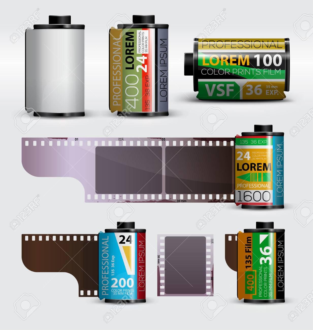 35mm film  Realistic camera film roll  Vector illustration