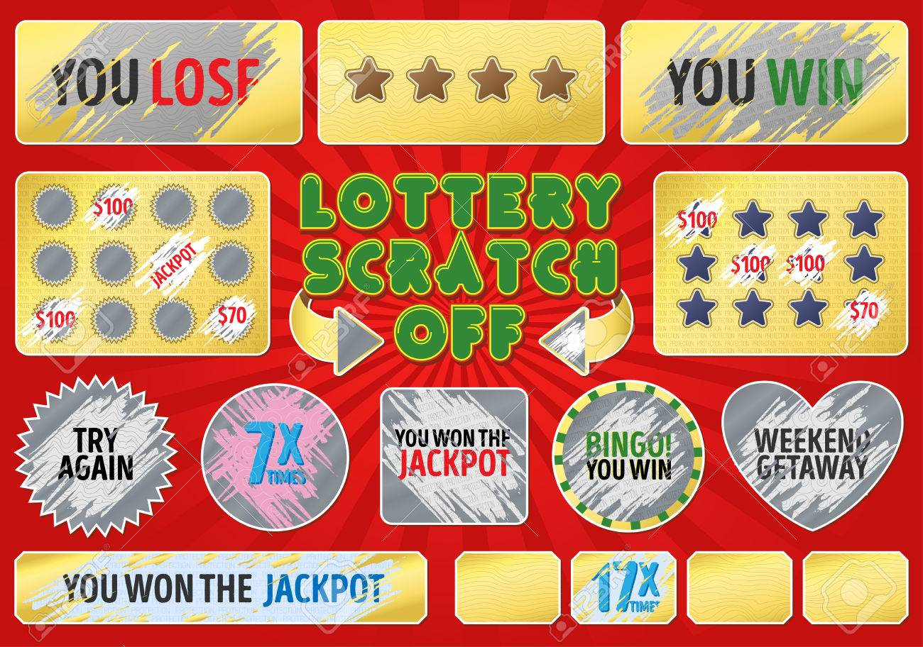 Lottery scratch off set  With effect scratch marks  Suitable