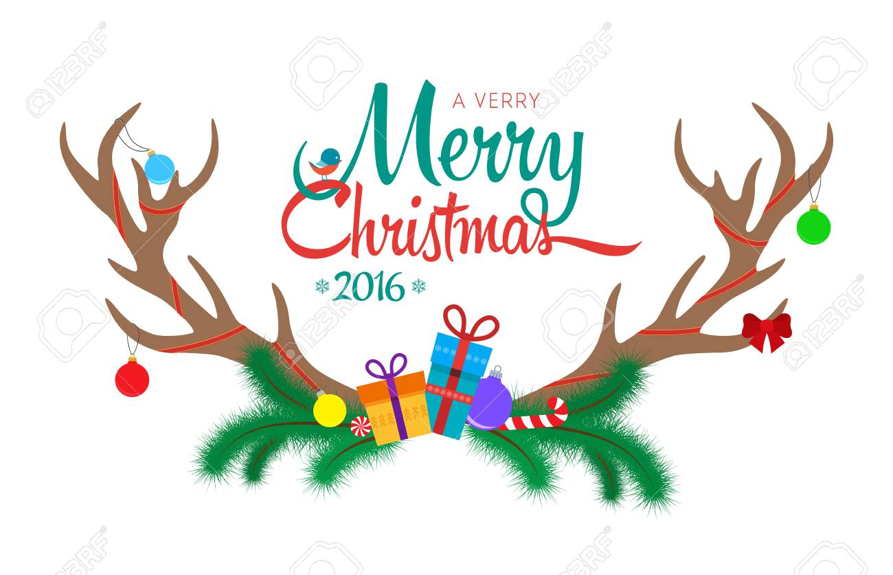 Greeting Card With Antlers On White Background. Merry Christmas ...