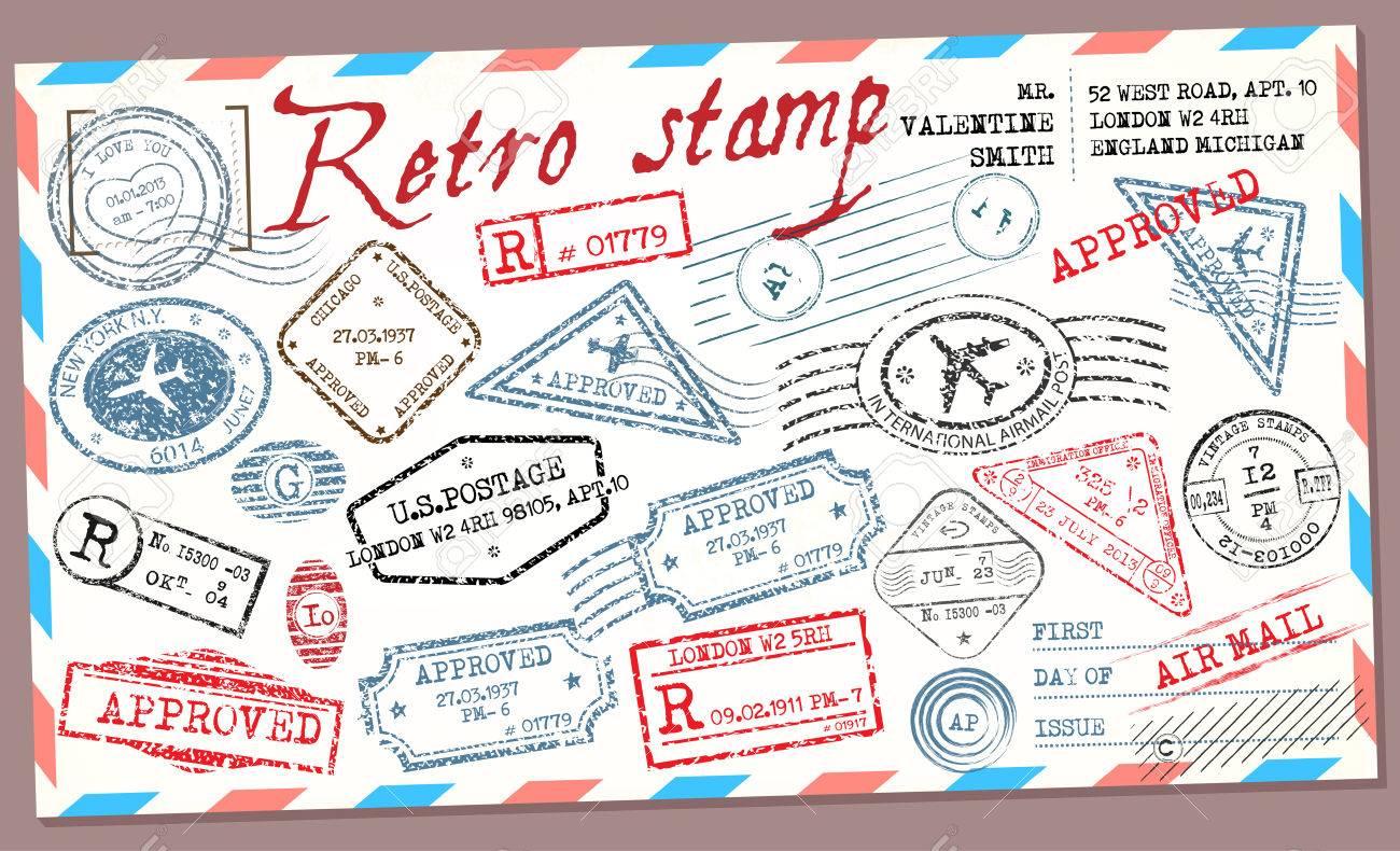 Retro Post Stamp Passport Stamps Stock Vector