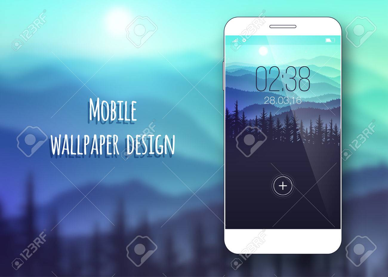 Colorful mobile interface wallpaper on blurred background. Mobile Wallpaper. Clean and modern design. Nature. Vector illustration - 61774528