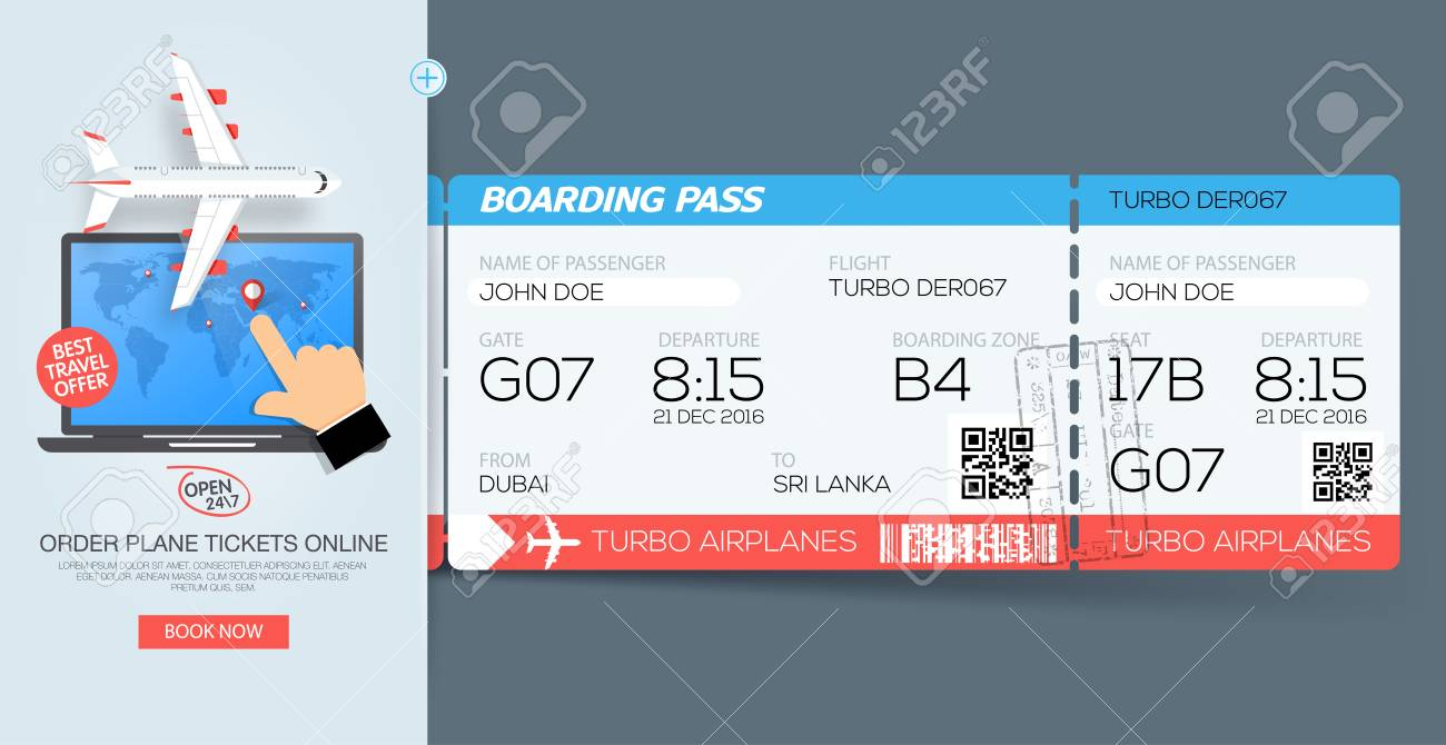 Airline Boarding Pass Tickets. Booking Tickets Online. Web Template ...
