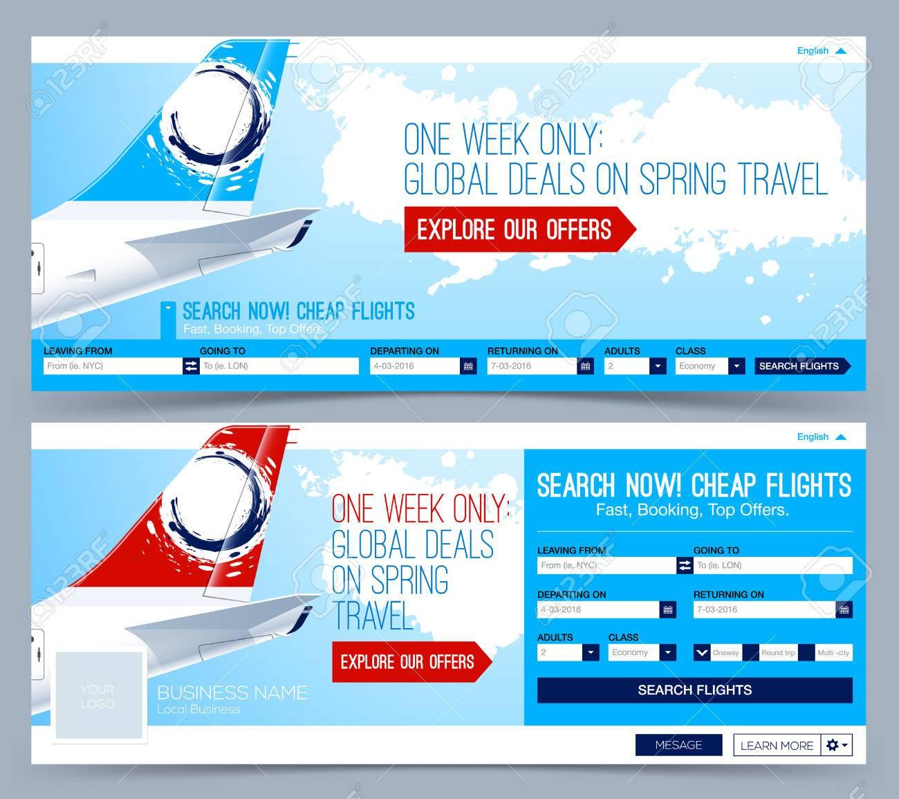 Booking Tickets Flight Template. Search Flights. Web Banner ...