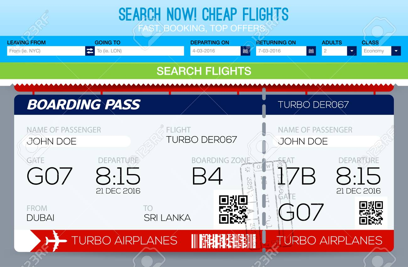 Booking Tickets Flight Template. Search Flights. Template Tickets ...