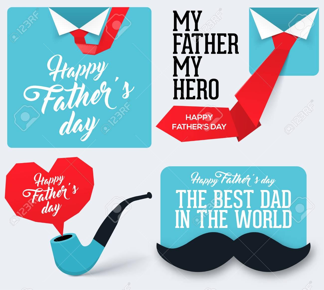 Vettoriale Collezione Happy Fathers Day Biglietto Di Auguri Per