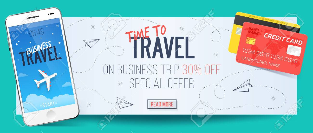Special offer on business travel business trip banner smartphone special offer on business travel business trip banner smartphone and credit cards air colourmoves