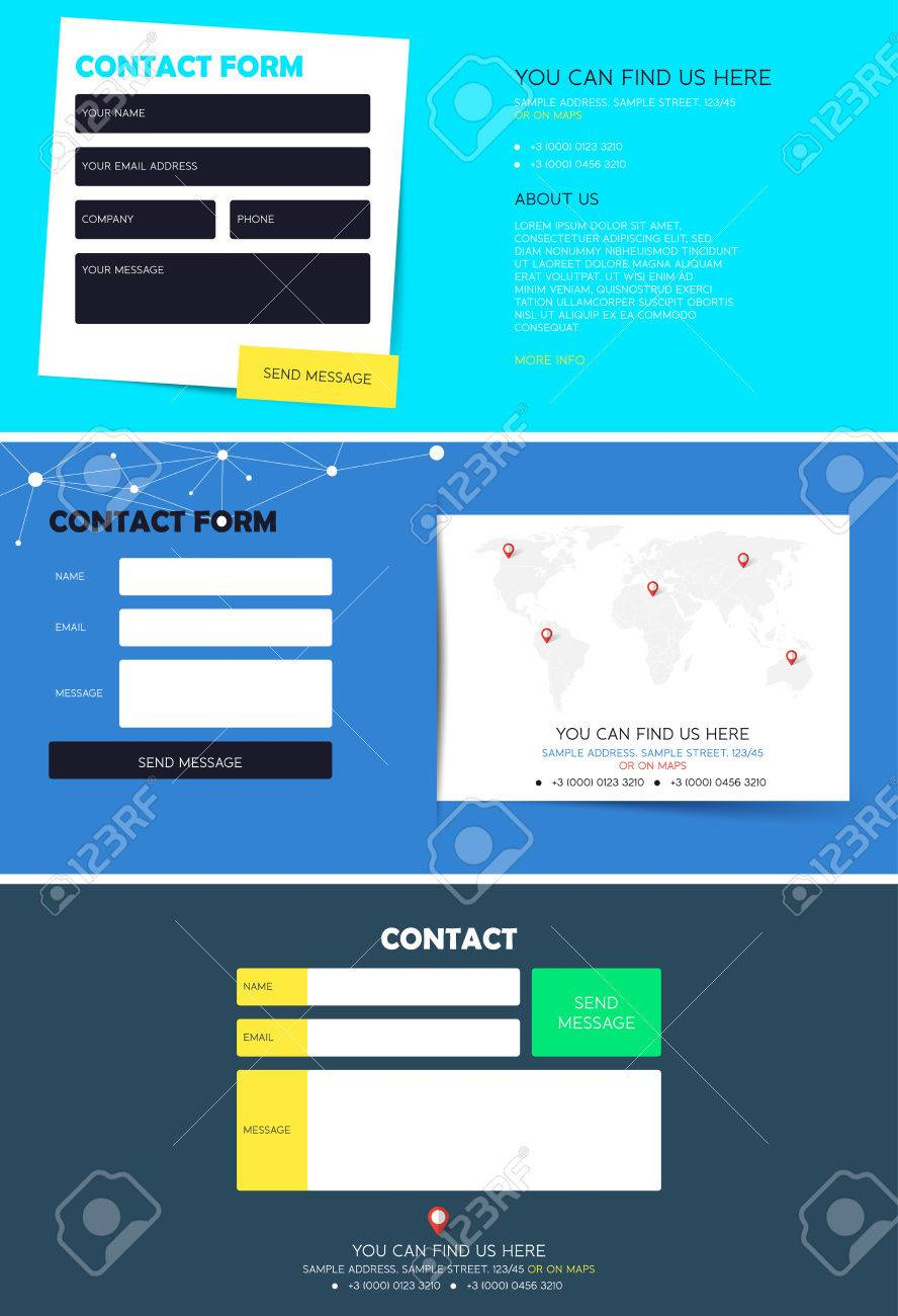 Set Of Contact Form For Website Registration Contact Form Template