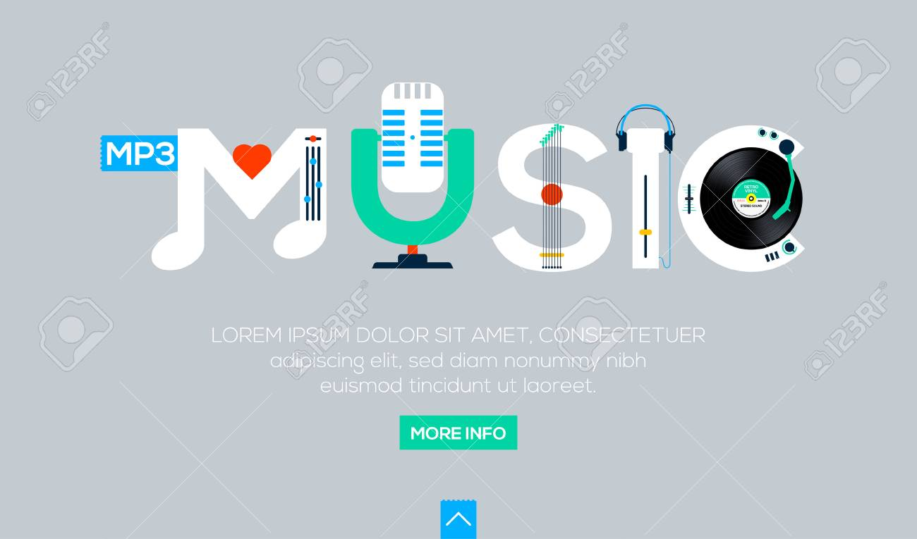 creative word for online music and other lettering on gray background web banner