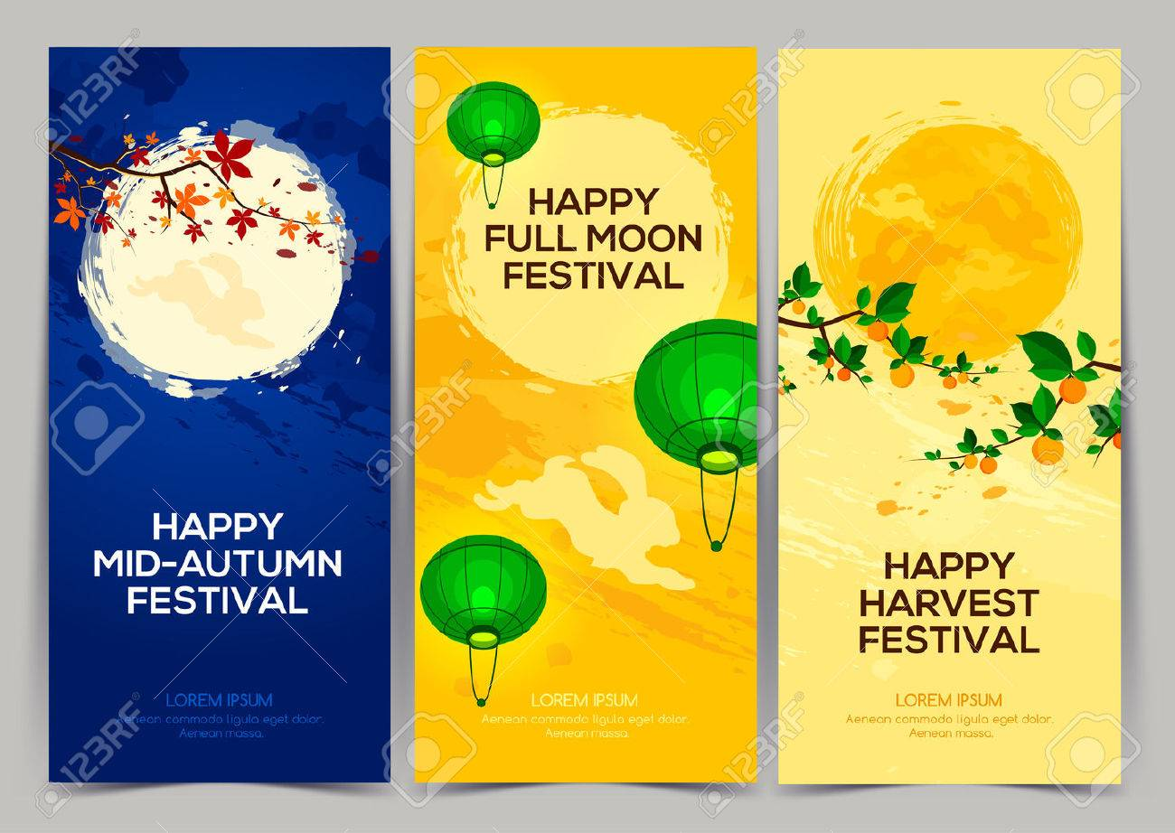 Happy Harvest Mid Autumn Festival. Three banners of full moon festival with persimmon tree, chestnut tree, rabbits and lantern. Stock vector - 66781177