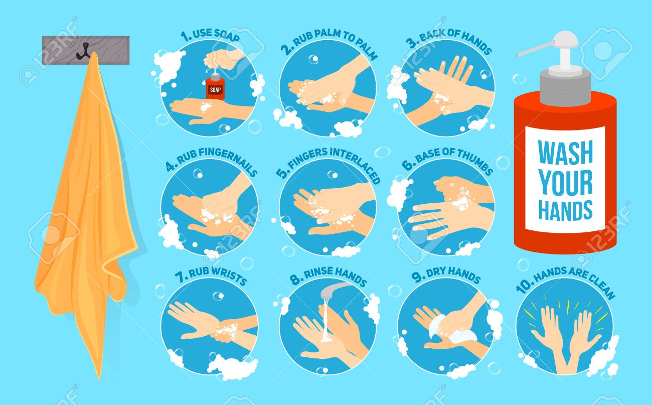 Ten Steps Of How To Wash Your Hands Vector Infographic Vector