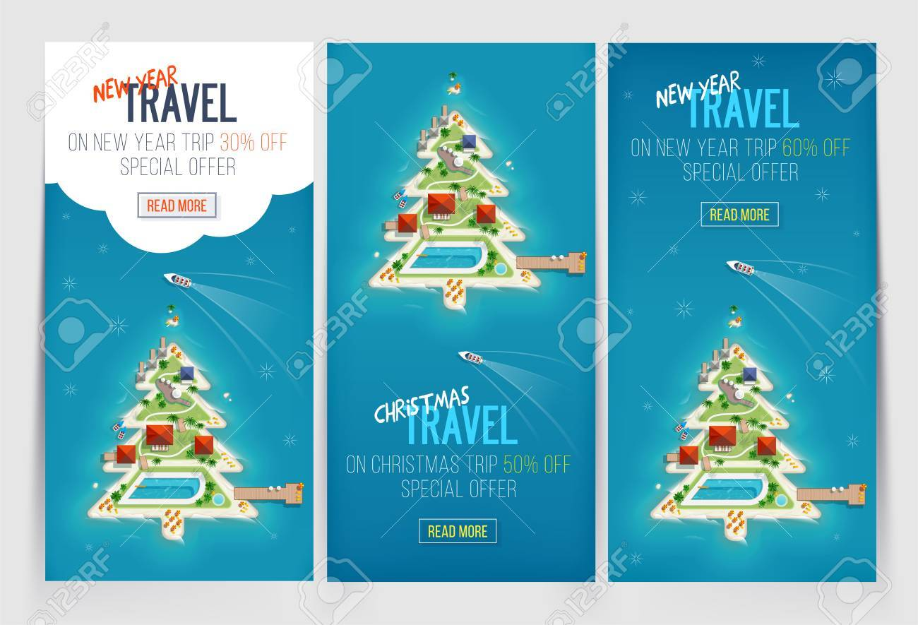 three new year and christmas vacation holiday banners island in the