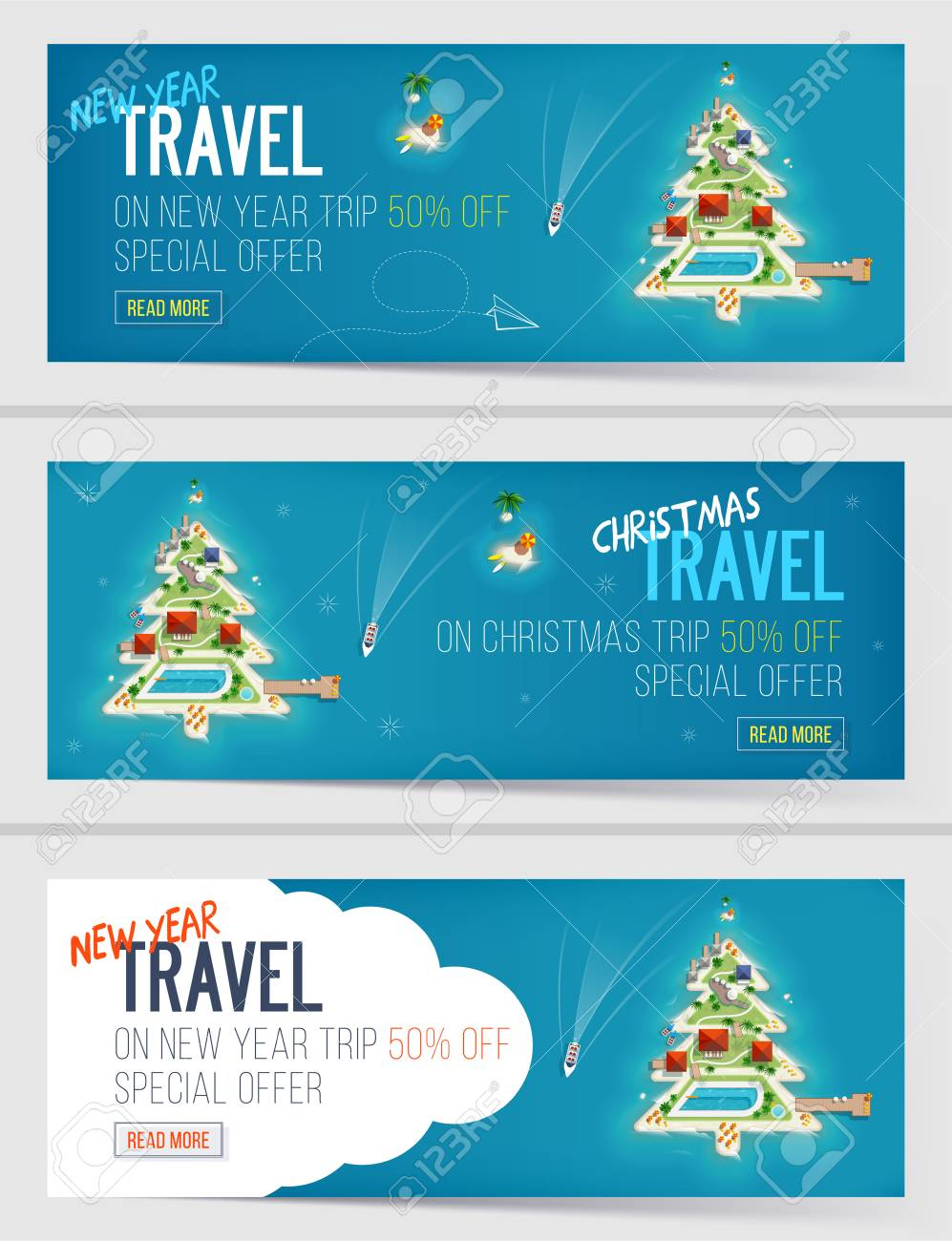 Three New Year And Christmas Vacation Holiday Banners. Island ...