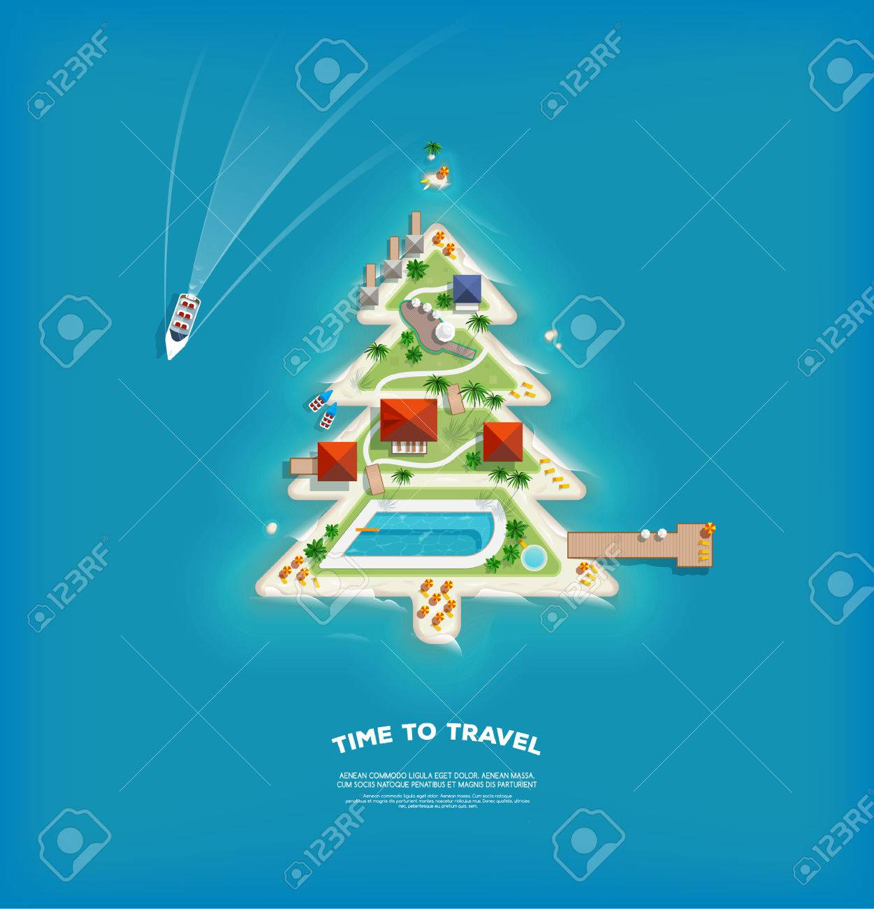 Island Christmas Tree.Creative Poster With Island In The Form Of A Christmas Tree