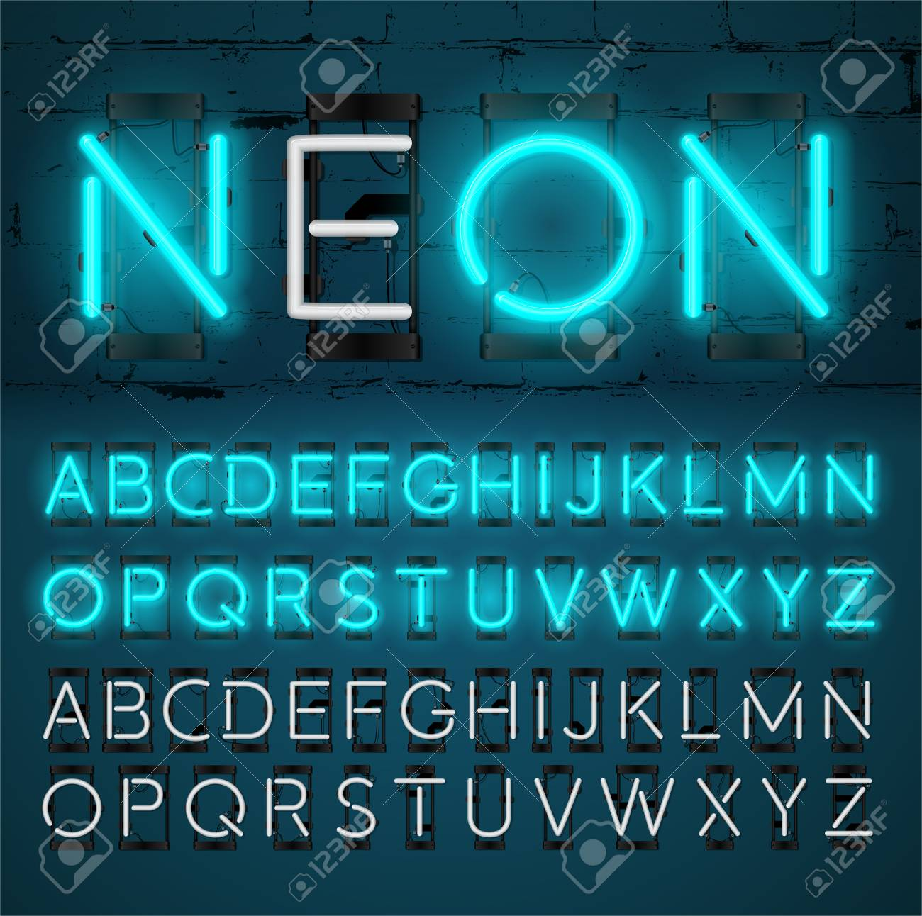 neon light alphabet vector font glowing text effect on and off lamp neon