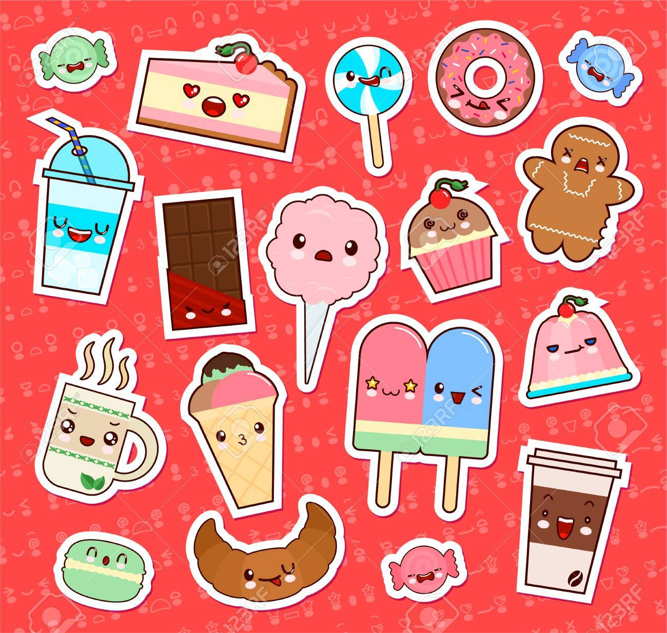 Wonderful Set Of Cute Kawaii Food Emoticon Stickers. Cupcake, Ice Cream, Donuts,