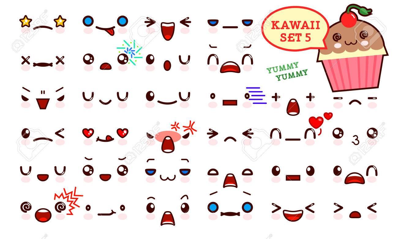 Set Of Cute Kawaii Emoticon Face And Sweet Cake Kawaii Collection