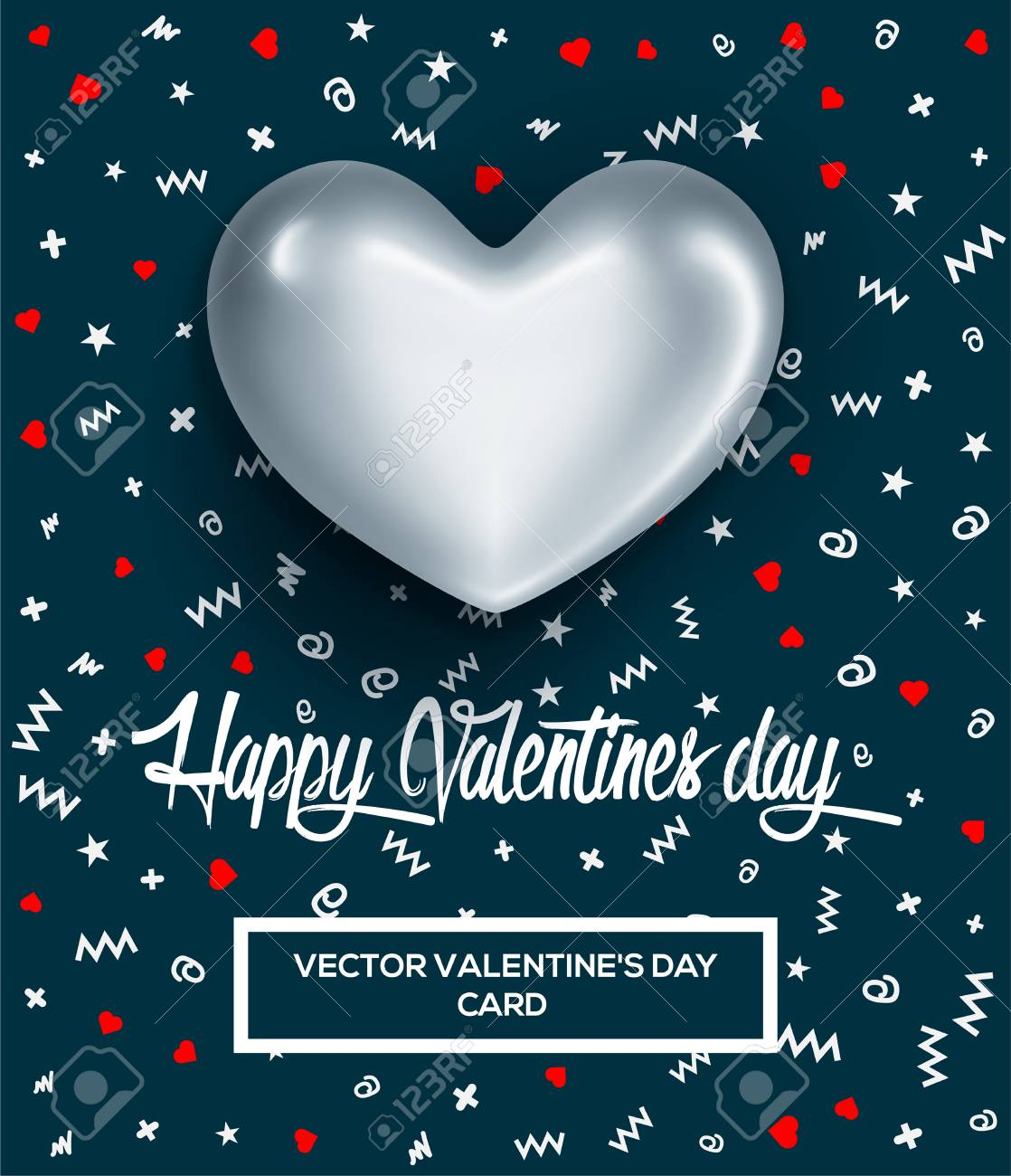 Happy Valentines Day Greeting Card Or Poster With Glossy Silver