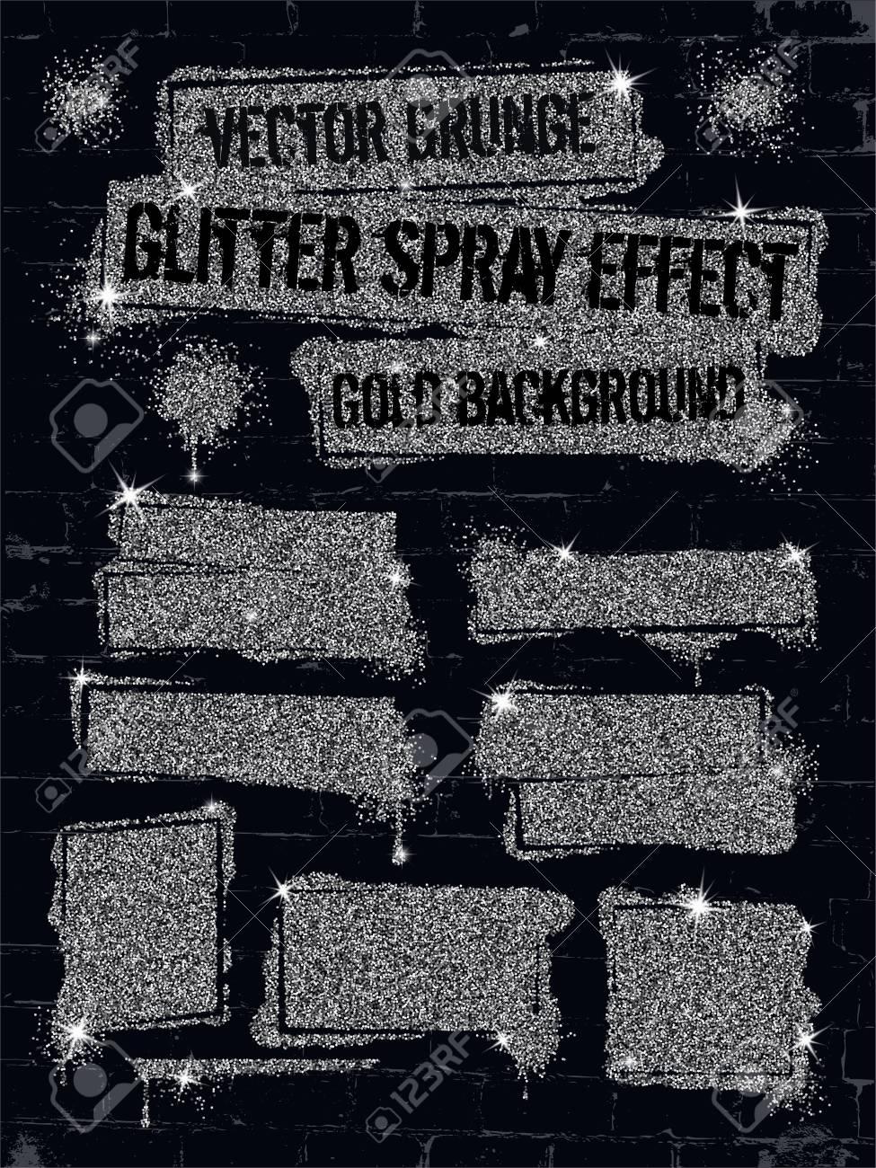 Divers Graffiti De Peinture En Aérosol De Paillettes Sur Le Mur De Briques Cadre Avec Des Confettis Scintillants D Argent Ou Comme La Peinture De Gel
