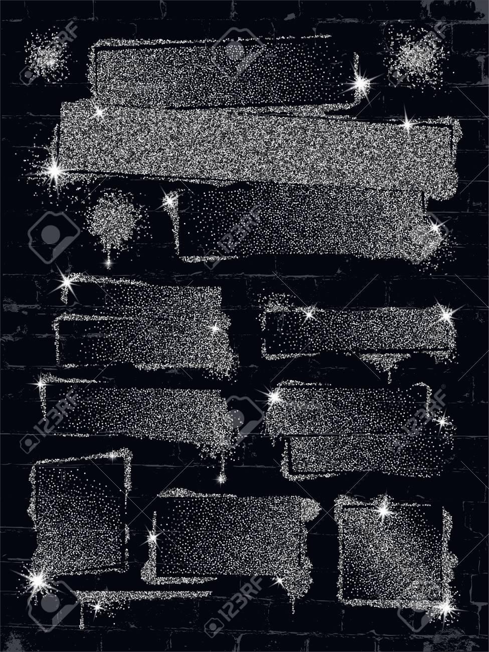 Divers Graffiti De Peinture En Aérosol De Paillettes Sur Le Mur De Briques.  Cadre Avec Des Confettis Scintillants Du0027argent Ou Comme La Peinture De Gel  De ...