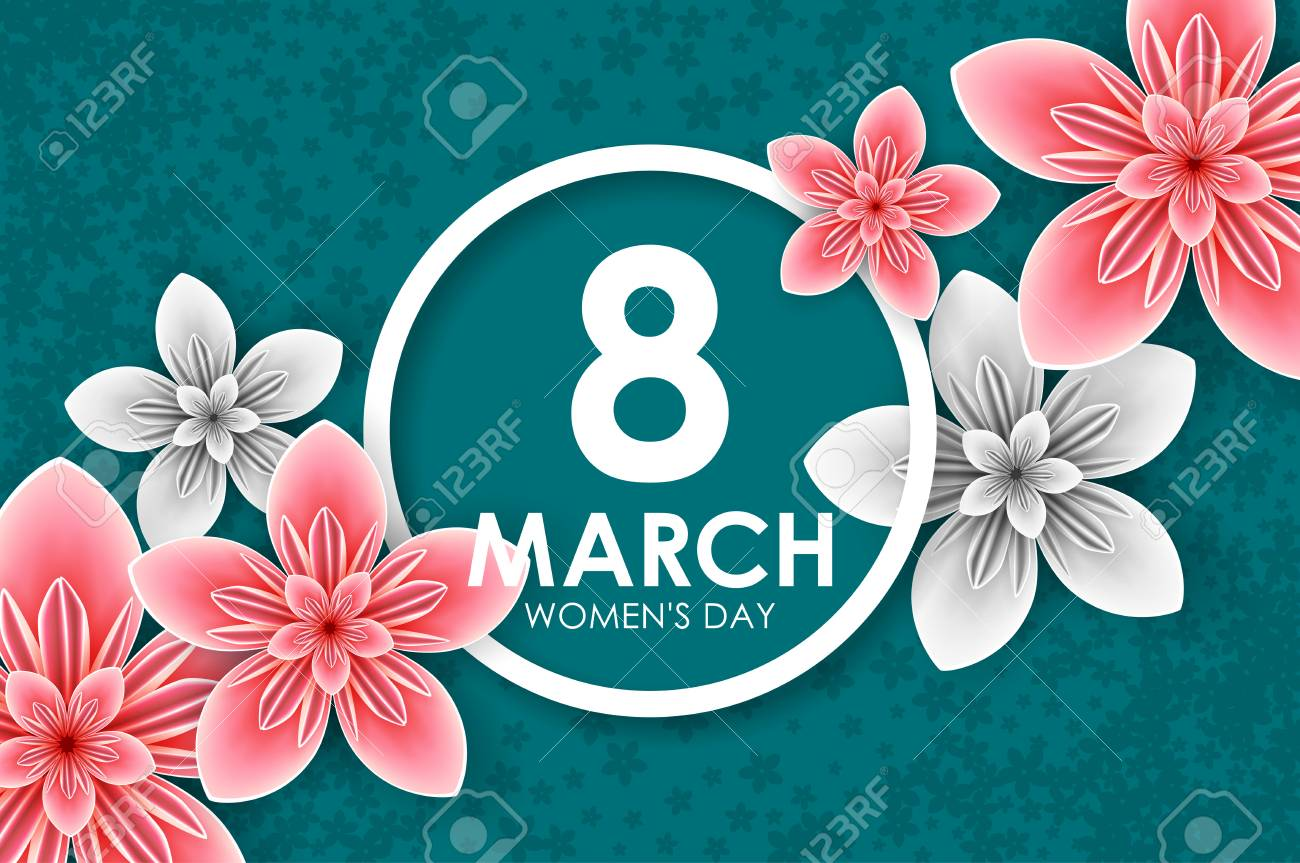 8 March Holiday Origami Greeting Card With Paper Flowers