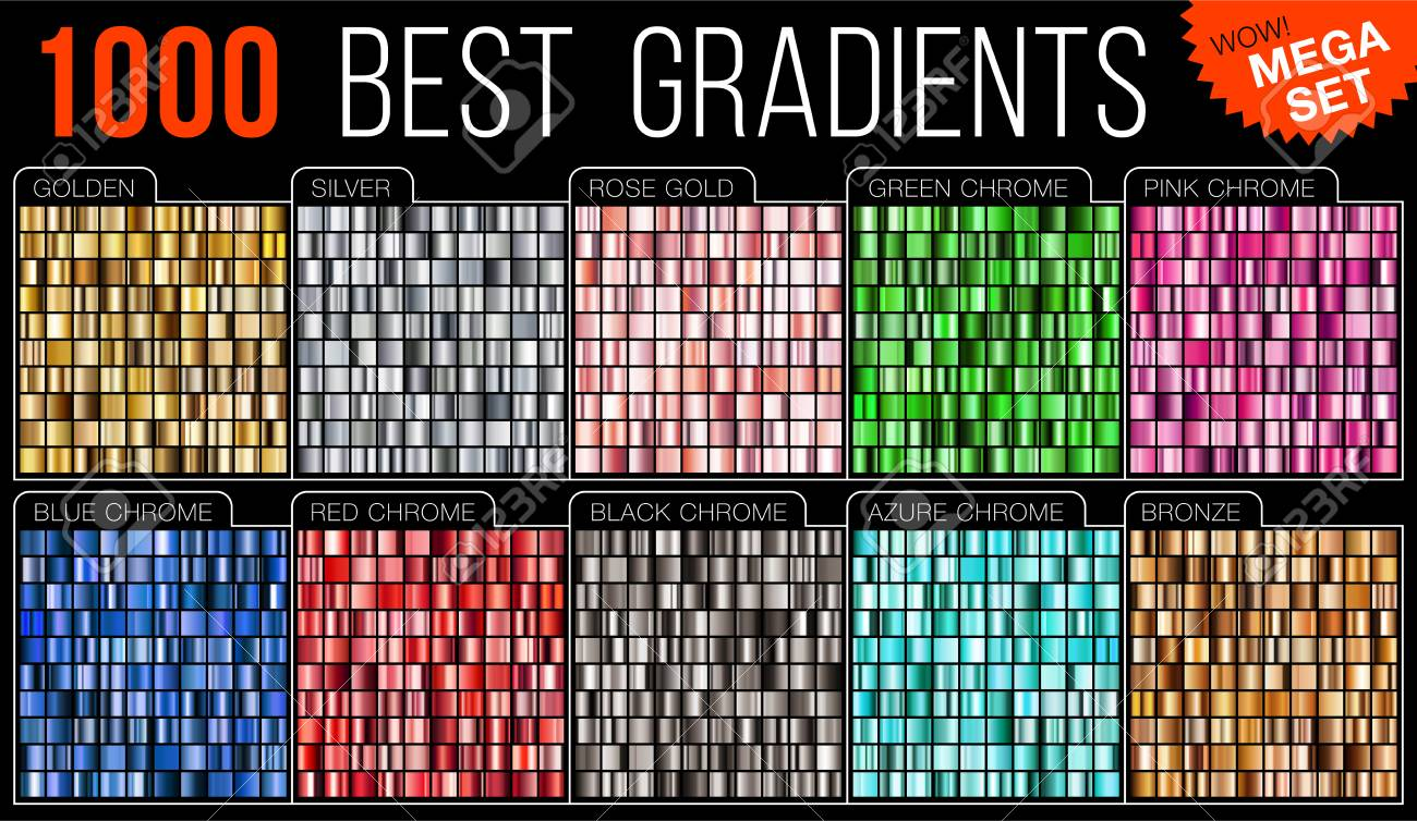Vector mega set of gradients. Big collection colorful metallic gradient illustration. Gold, silver, blue, red, pink, green, azure, bronze. - 91396558