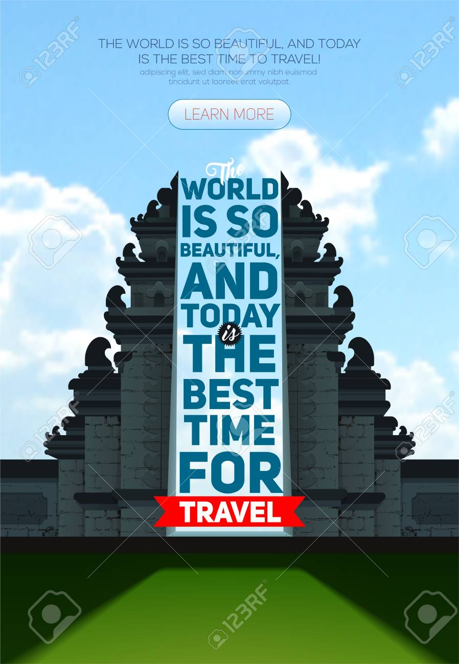 Vector Poster With Hindu Temple Pura Besakih Bali Indonesia