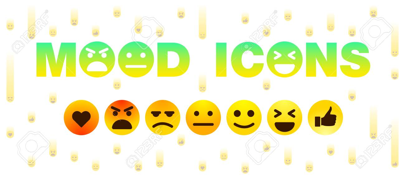 Mood Icons Set Of Cute Smiley Emoticons Flat Design Royalty Free