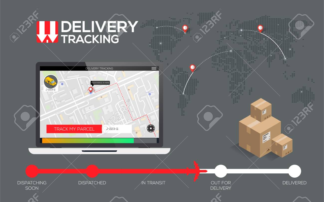 delivery tracking concept fast delivery shipping flat creative