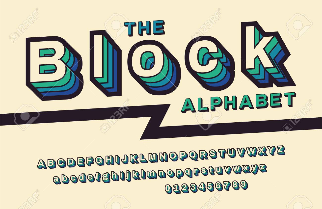 With VHS Effect Vector Abc Alphabet Stock