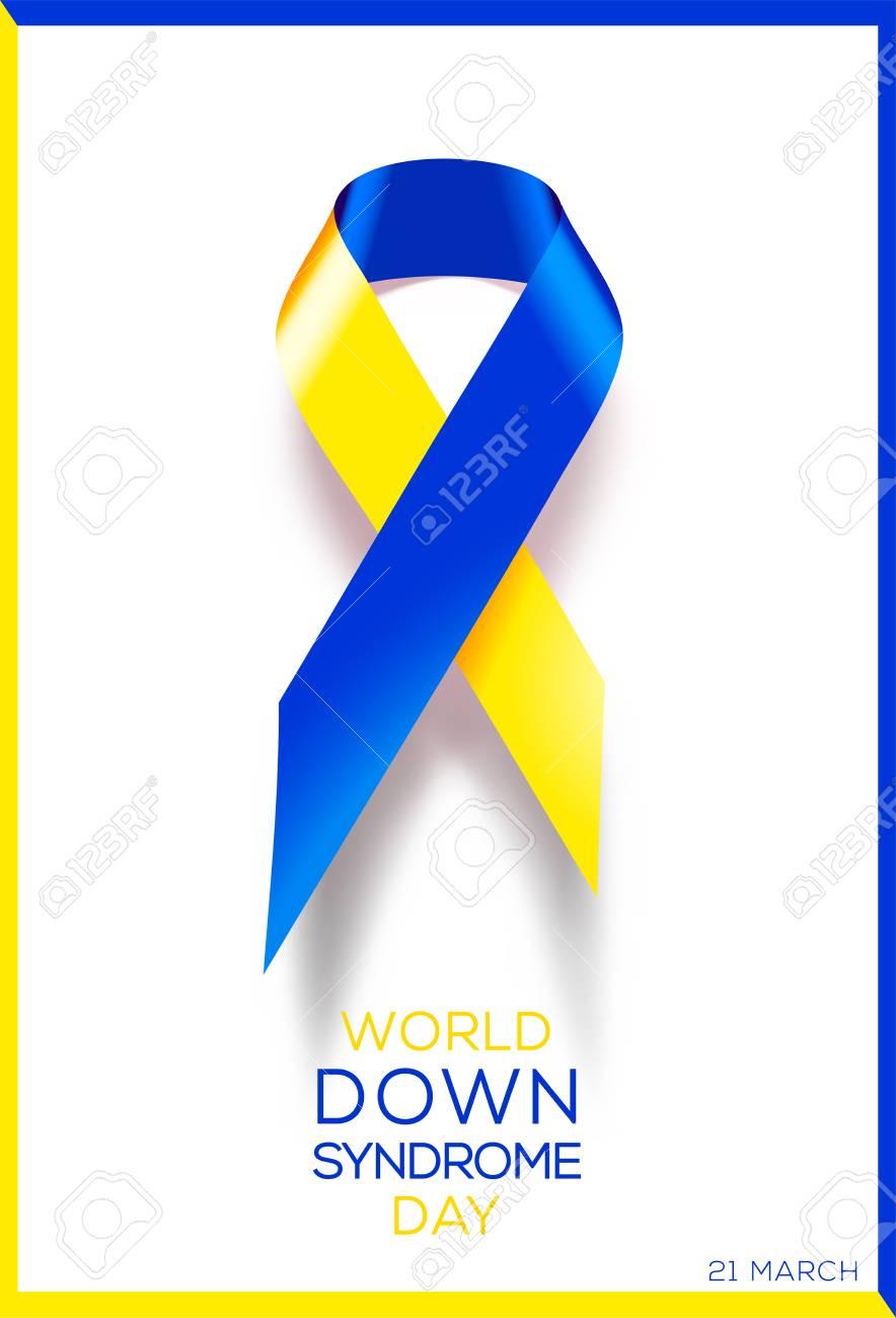 Social Poster World Down Syndrome Day Awareness Ribbon Royalty
