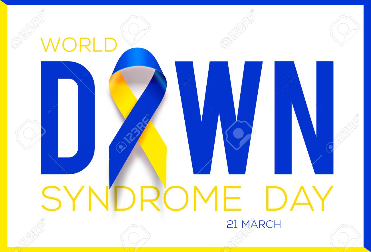 World Down Syndrome Day Awareness Ribbon Royalty Free Cliparts