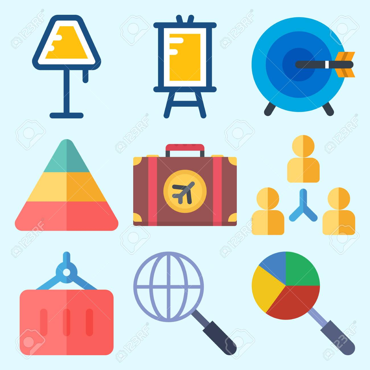 icons set about business with lamp suitcase pyramid presentation