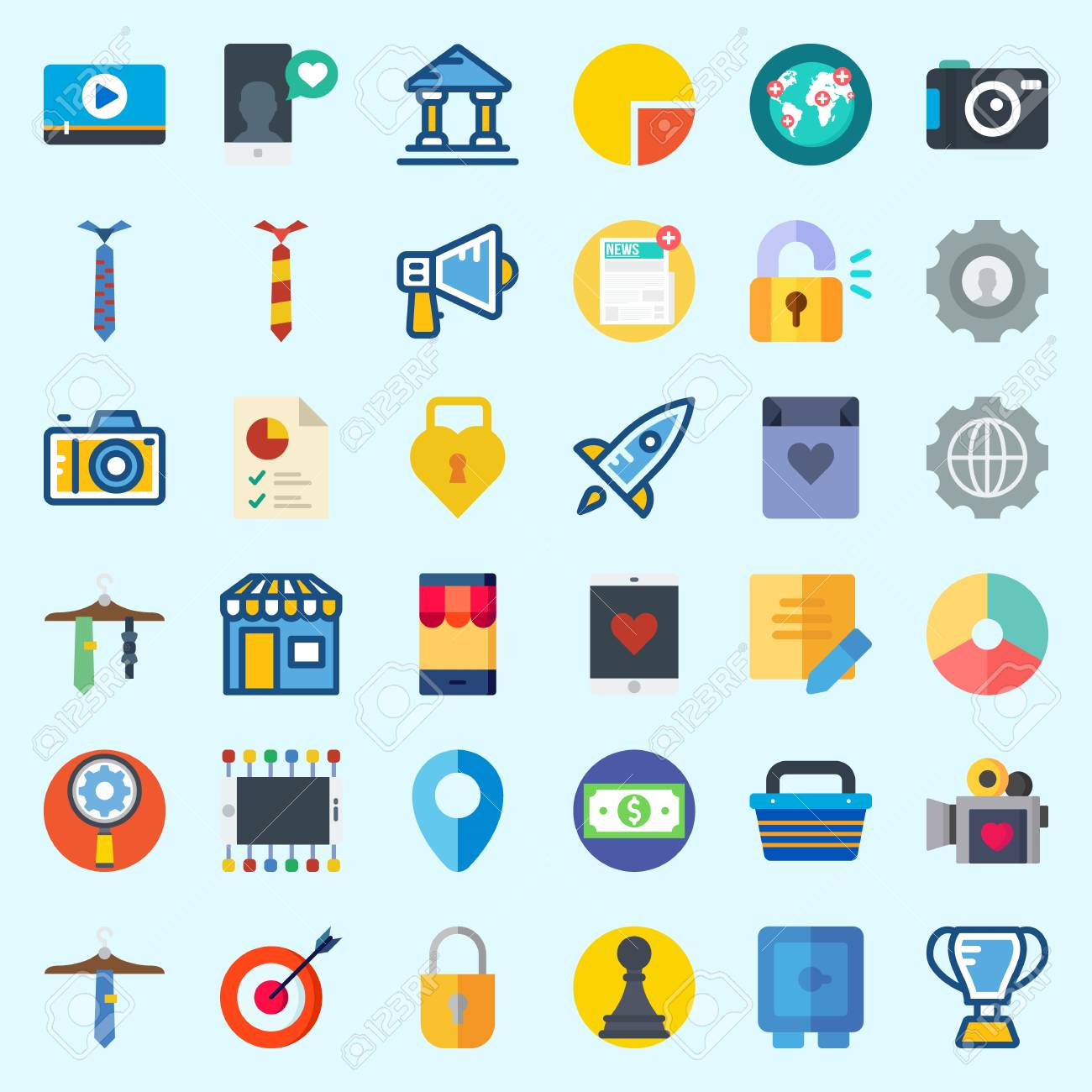 Icons about Digital Marketing with worldwide, video player, video