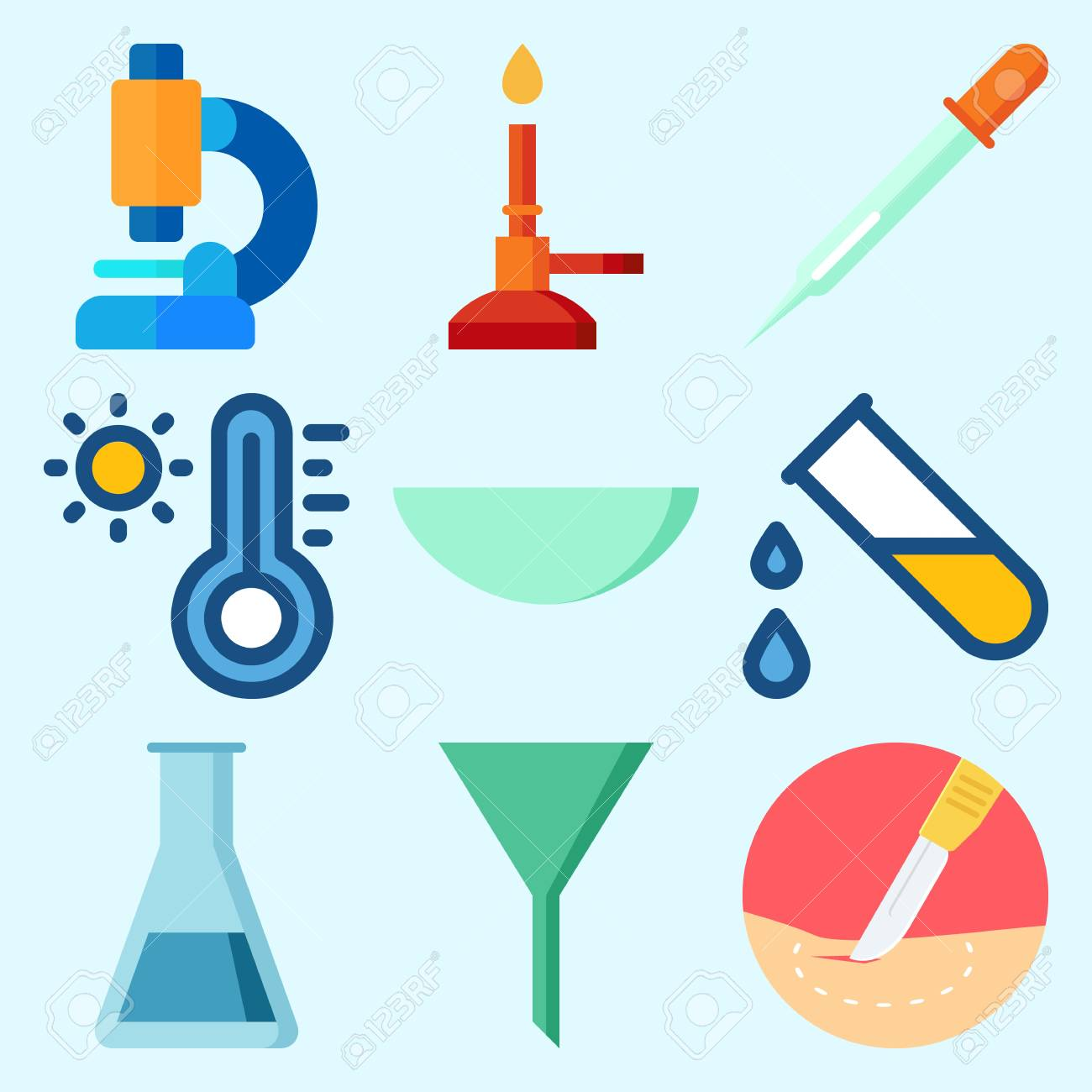 Icons set about laboratory with surgery lab funnel test tube icons set about laboratory with surgery lab funnel test tube microscope and ccuart Images