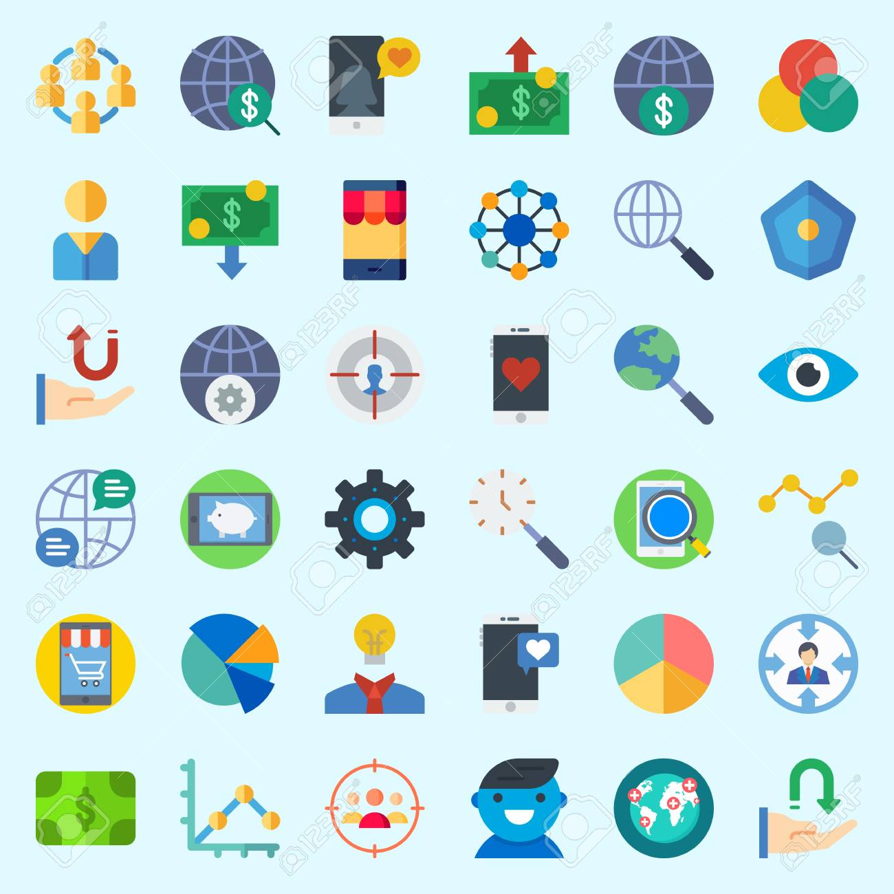 Icons Set About Marketing With Internet Pie Chart Target