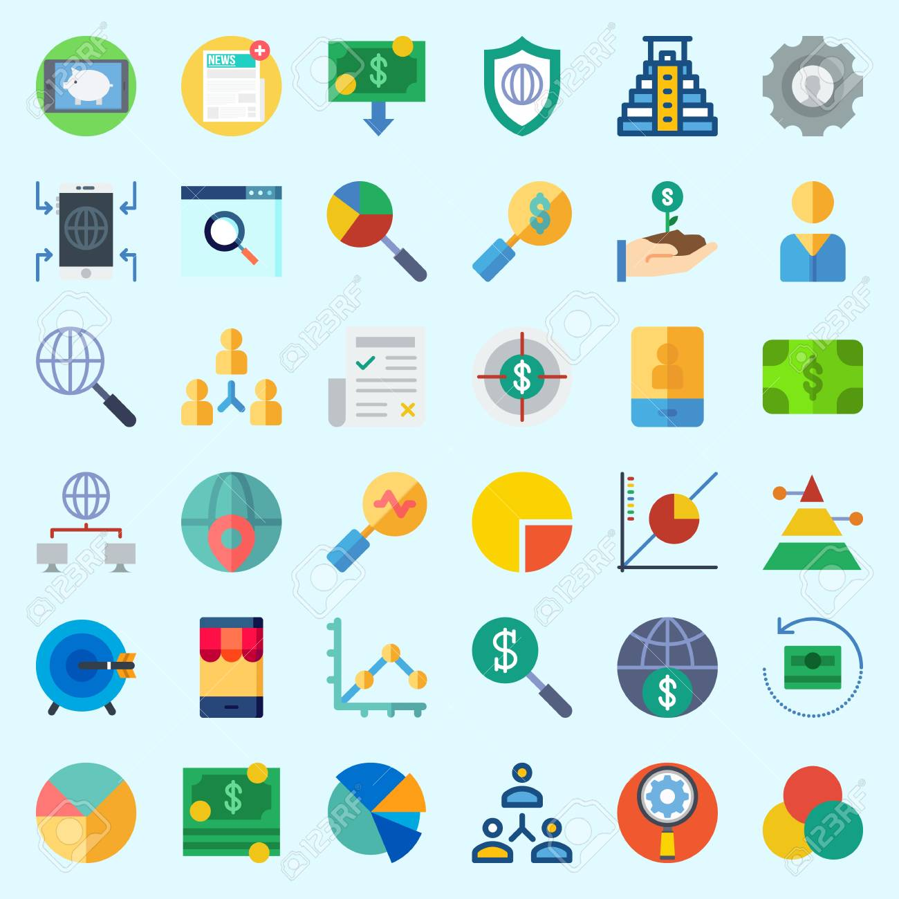 Icons Set About Marketing With Search Internet Shield Settings