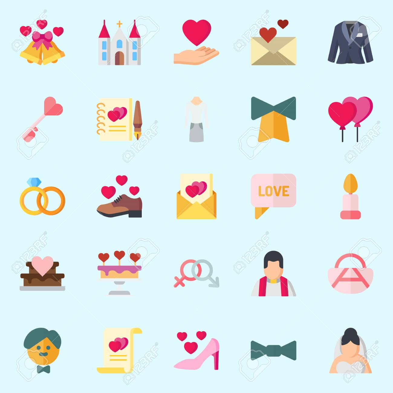 icons set about wedding with high hell love letter marriage wedding bells